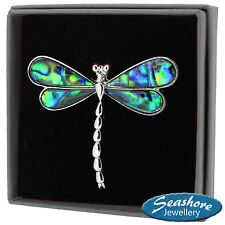 Dragonfly Brooch Paua Abalone Shell Womens Silver Fashion Jewellery 50mm Gift