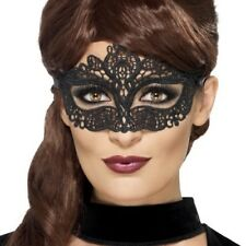 Ladies Masquerade Ball Fancy Dress Eye Mask Filigree Eyemask Black by Smiffys