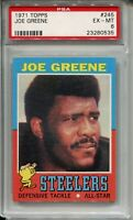 1971 Topps Football #245 Joe Greene Rookie Card RC Graded PSA Ex MINT 6 Steelers