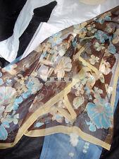Jolie Echarpe Florale Marron/Bleu en Lin Apocynum de Xinjiang 160x50cm