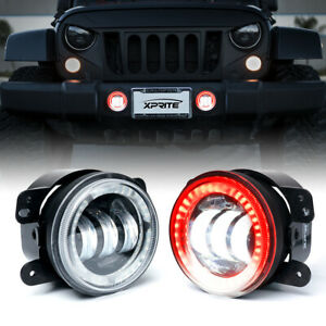 "4"" CREE LED Fog Lights w/ Red Halo Ring DRL Assembly for 07-18 Jeep Wrangler JK"