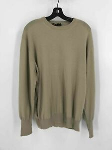 Loro Piana Beige 100% Cashmere Mens Crew Neck Long Sleeve Pullover Sweater 54/XL
