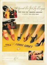 postcard GOLD CROSS CROSSING 👟 Shoes Vintage style advertising post fashion