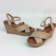 a824dfc17913 Lucky Brand Womens Wedge Sandals 10 Platform Leather Shoes Cork Heel Buckle