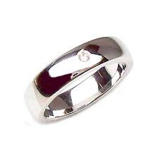 Anello Fede nuziale per matrimonio in oro bianco 18 kt con diamante  coppia 2 pz