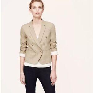 Ann Taylor Loft S 6 P double breast Blazer Jacket Career casual Beige Linen Wow