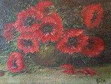 """Tableau ancien signé """"Bouquet de Dahlias rouges"""" huile sur toile 15cm x 19cm"""