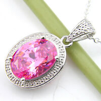 Wedding Jewelry Gift Sweet Pink Topaz Gemstone Vintage Silver Necklace Pendants