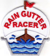 """""""RAIN GUTTER RACER"""" - RACE - RACING - FUN - SPORTS - Iron On Embroidered Patch"""