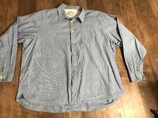Wrangler Mens Sz 3XL Button Down Shirt Blue Striped 100% Cotton Premium Quality