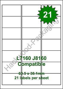 21 Labels per Sheet x 50 Sheets White Matt Copier Inkjet Laser