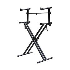 Heavy-Duty X Style Dual Keyboard Stand Electronic Piano Double 2-tier Y9M7