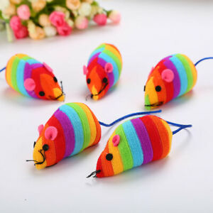 (CT022) Cat KittenToy Bright Striped Mouse, Contains Catnip Pair of Mice