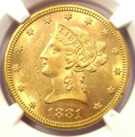 1881-CC Liberty Gold Eagle $10 - NGC Uncirculated Details (UNC MS) - Rare Coin!