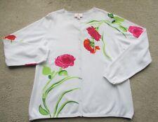 QUACKER FACTORY White EMBELLISHED Floral Pink RHINESTONE STUD Cardigan Sweater L