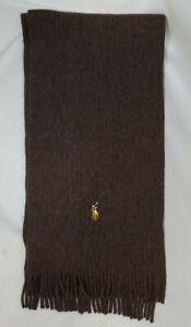 Polo Ralph Lauren 100% Merino Wool Knit Scarf Dark Brown Embroidered Pony Logo
