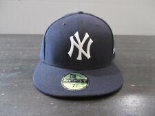 New Era New York Yankees Hat Cap Fitted Size 7 3/8 Blue White Baseball Mens