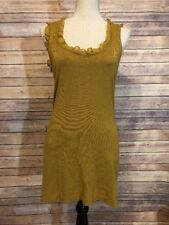 Twelve By Twelve Womens Mustard Yellow Fitted Ruffles Dress or Top Size M *read