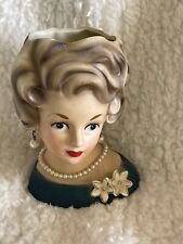 "VINTAGE 60's ARDCO BLUE EYE LADY HEAD VASE PEARLS GREEN DRESS FLOWER BROOCH 6"""