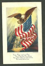 Unused Pre 1920 Postcard Eagle With American Flag That Flies Flag Series No.4