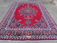 Old Hand Made Traditional Vintage Rug Oriental Wool Red Large Carpet 349x246cm