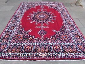 Vintage Hand Made Traditional Rug Oriental Wool Red Large Carpet 352x245cm