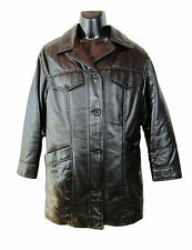 Made in Italy Woman Retro Vtg Black Designer Faux Leather Coat Jacket sz L F34