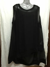 BNWT Womens Sz 22 Autograph Brand Smart Black Sleeveless Drape Tunic Top RRP $70