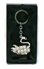 Swan Metal Keyring  Key Ring Jewelled Ladies British Pretty Bird Gift CLEARANCE