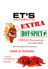 ET'S Authentic EXTRA HOT RED CHILLI sachets for noodles - 50g - free postage