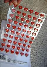60 Red Hearts & Flower Alphabets Epoxy 3D Adhesive Sticker Valentines Day Crafts