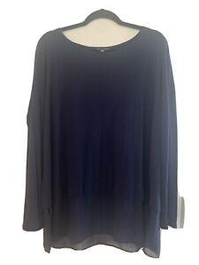 eileen fisher large Womens Blue Silk Longsleeve Blouse