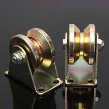2Pcs 2''inch 660lb Sliding Gate Roller Steel V Type Wheel Track Rail w/ Bracke