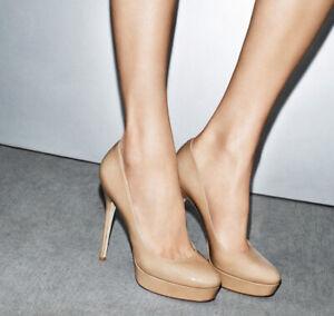 JIMMY CHOO Cosmic Patent Leather Nude Platform Pump Heels Sz 37 Kate Middleton