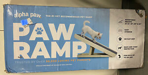 """Adjustable Pet Ramp 40"""" Dog Cat Stairs Folding Paw Wood Alpha Steps Couch Bed XL"""
