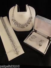 Rhodium over Brass 3-piece Set of Genuine Diamond Necklace, Earrings, Bracelet