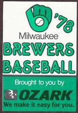 1978 MILWAUKEE BREWERS OZARK AIRLINES BASEBALL POCKET SCHEDULE