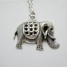 Vintage Antique Silver Elephant Pendant Charm Necklace