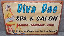 "Vintage Look Tin Metal ""Diva Dae Spa & Salon"" 10""X16"" Old Style Sign"