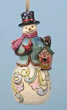 Enesco Jim Shore Heartwood Creek Snowman Blue Vest w/ Birdhouse H/O Nib 4036340