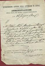 Ricevuta Cattedrale Pistoia Amministrazione della Massa Sig. Canonici 1872