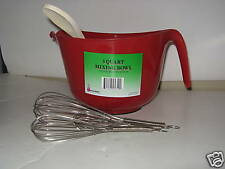 Red Three Quart Mixing Bowl. Three Whisks, Wooden Spoon