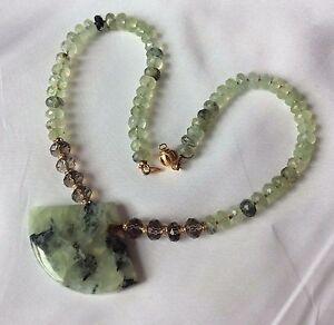 Natural green prehnite & smoky quartz necklace genuine Swarovski Beads 14K gold