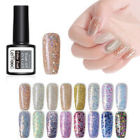 LEMOOC 8ml Glitter Sequins UV Gel Polish Shimmer Soak Off Nail Art Gel Varnish