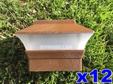 12 Custom Wood Grain Texture 4X4 Solar LED Post Deck Cap Square Fence Light