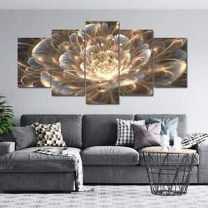 Golden Rays Fractal Flower 5 Piece Canvas Wall Art Poster Print Home Decor