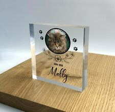 Personalised Pet Memorial Plaque Cat Dog Paw Photo Clear 3D Effect Grave Marker