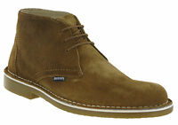Lambretta Desert Brown Leather Ankle Boots Mens Carnaby 3 Eye Suede Round Toe