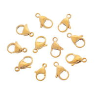 10PCs Stainless Steel Lobster Clasp Gold Plated Jewelry Findings For Bracelet