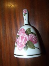 Danbury Mint Limited Edition 1980 Pink Roses Mothers Day Bell -Gold Trim-Vintage
